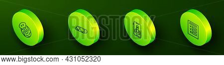 Set Isometric Line Car Brake Disk With Caliper, Headlight, Online Car Services And Inspection Icon.