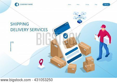Isometric Logistics And Delivery Concept. Delivery Home And Office. City Logistics. Warehouse, Truck