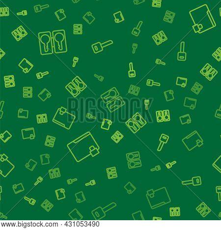 Set Line Casting Keys, Folder And Lock And Key On Seamless Pattern. Vector