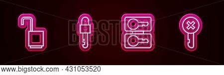 Set Line Open Padlock, Locked Key, Casting Keys And Wrong. Glowing Neon Icon. Vector