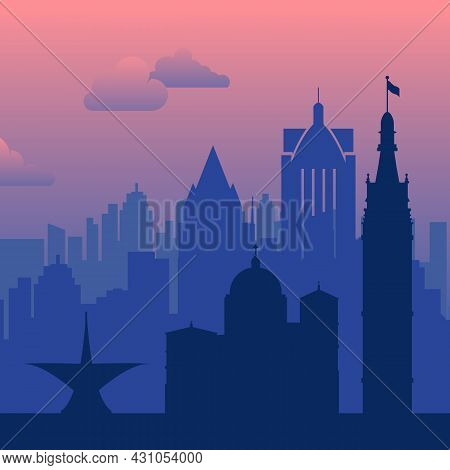 Milwaukee, Usa Famous City Scape View Background.