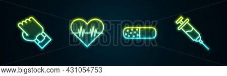 Set Line Smart Watch On Hand, Heart Rate, Vitamin Pill And Doping Syringe. Glowing Neon Icon. Vector