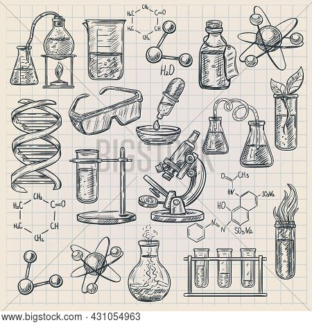 Chemistry Icon In Doodle Style With Burner Flask Dna Structure And Formulas Of Organic Substances Is