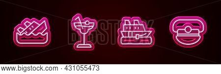 Set Line Sinking Cruise Ship, Cocktail, Cruise And Captain Hat. Glowing Neon Icon. Vector