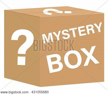 Mystery Box On White Background. Mystery Contest Box Sign. Lucky Prize Symbol. Flat Style.