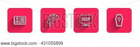 Set Line Holy Bible Book, Tear Cry Eye, Speech Bubble Rip Death And Coffin With Cross With Long Shad