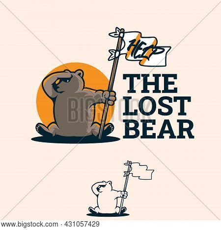 The Lost Bear Holding Flag Waiting For Help Vector Format For Symbol, Illustration, Design Element,