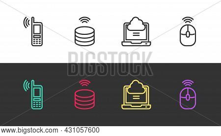 Set Line Mobile With Wi-fi Wireless, Smart Data Server, Network Cloud Connection And Wireless Comput