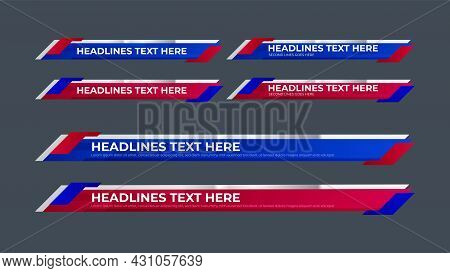 Lower Third Collection With Red And Blue Color Set For News, Entertainment Or Event. Flat Design Low