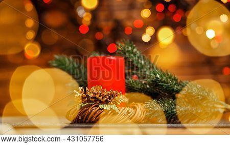 Festival Candle. Vintage Christmas Decor. Colorful Bokeh. Golden Xmas. Christmas Candles And Lights.