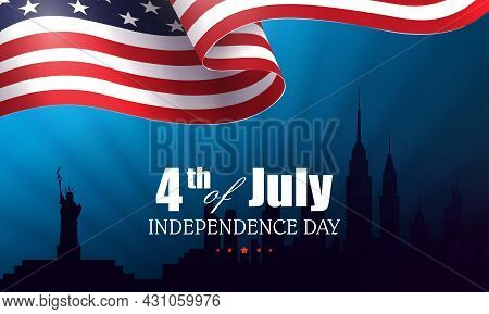 Blue Composition With Silhouette Of Waving Usa Flag, Silhouette Of Buildings , , Independence Day, D