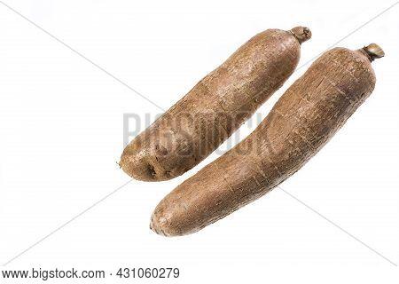 Raw Esculenta - Cassava Edible Tuber; Photo On White Background