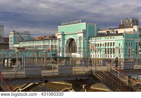 Novosibirsk, Siberia, Russia - 05.25.2020: The Building Of The Largest Railway Station In Siberia In
