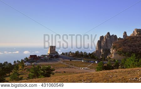 Crimea, Russia - 05.08.2019: On Top Of Ai-petri. The Top Cable Car Station On The Top Of The Mountai
