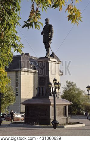 Novosibirsk, Siberia, Russia - 08.05.2019: Monument To The Russian Emperor On A High Pedestal Framed