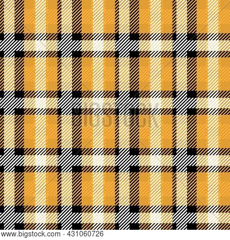 Vector Orange Plaid Check Teen Seamless Pattern In Geometric Abstract Style Can Be Used For Summer F
