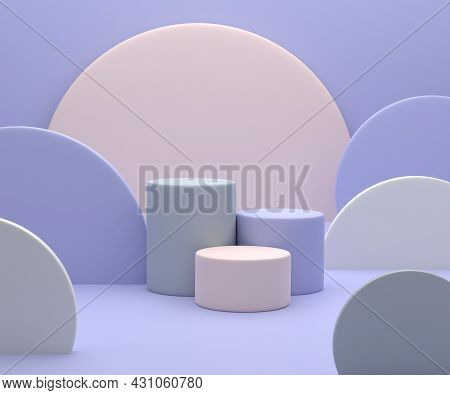 3d Render. Minimal Scene With Podium And Abstract Background. Geometric Shapes. Pastel Colors Scene.