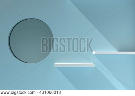 3d Shelves Display. 3d Rendering For Product Object And Exhibit. Empty Retail Shelf Isolated On Blue