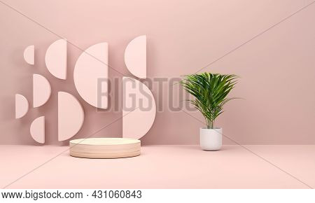 Pink Scene Studio With Podium And Minimal Pink Scene Platform, Stage Background 3d Rendering With A