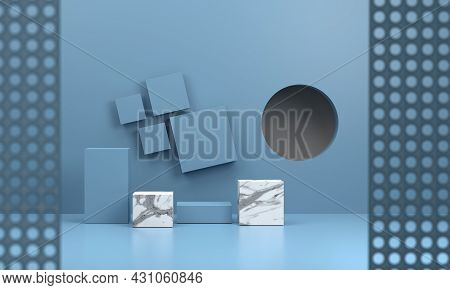 3d. Mockup Blue Studio Room With A Blue Square Pedestal And A Marble Plinth Suitable For Presenting