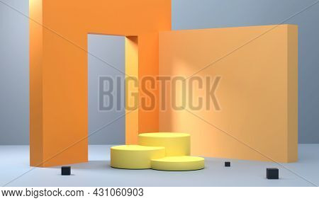 3d. Wall Scene With A Hole Through It And There Is A Podium In Front That Stands Out With The Shadow