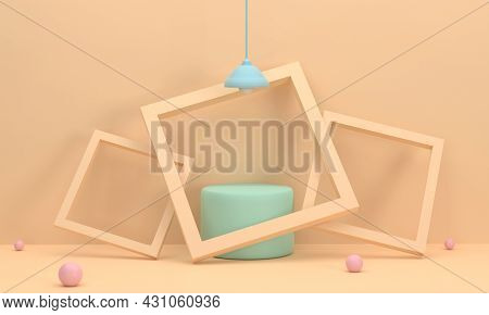 3d. Podium Green Circle It Is In A Picture Frame, 3 Pieces, Leaning Against A Wall Lamp. In The Stud