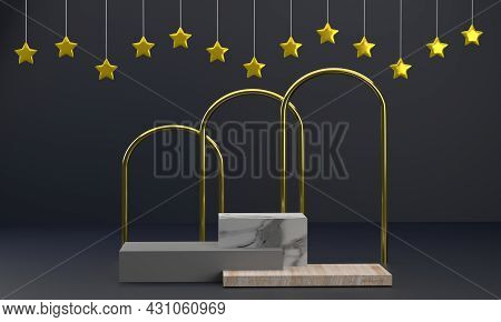 3d. Product Podium Square Wood And Marble Display With Gold Pillars Giving It A Distinctive And Luxu