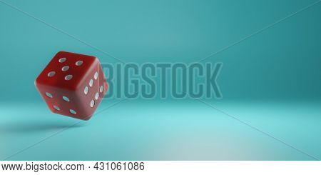 3d Render Red Dice Floating On A Turquoise Background. Gaming And Gambling. Random Numbers. Luck And