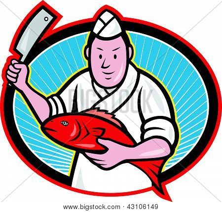 Illustration of a Japanese fishmonger butcher chef cook with knife holding red fish on isolated background. poster