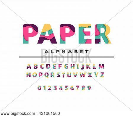 Paper Alphabet. Colorful Layered Font Paper Alphabet. Abc Letters Vector Design. For Logo, Banner, B