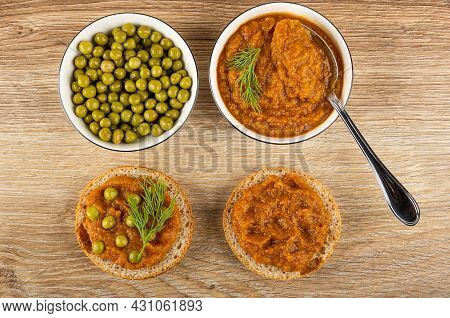 Green Peas In Bowl, Spoon In Bowl With Squash Caviar And Dill, Sandwiches With Vegetable Caviar And