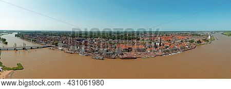 Aerial panorama from the city Kampen in the Netherlands