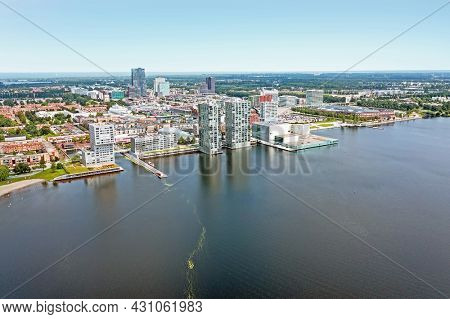 Aerial from the city Almere near Amsterdam in the Netherlands