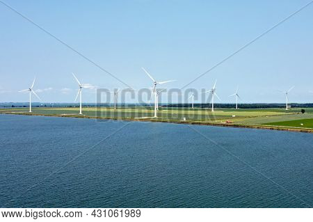 Aerial from windmills at the IJsselmeer near Almere in the Netherlands