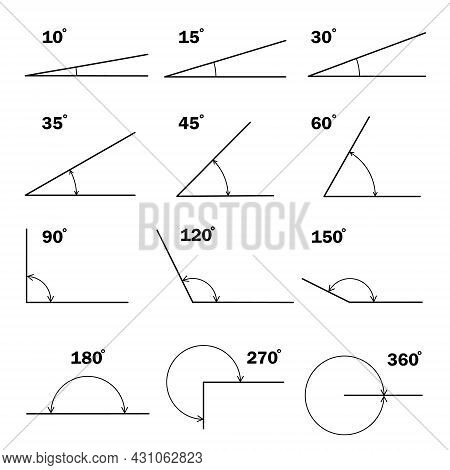 Set Of Different Degrees Angles. Geometric Mathematical Degree Angle With Arrow Icon Isolated. Educa