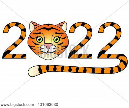 2022 With Cute Tiger Face And Tail, Year Of The Tiger Vector Full Color Striped Lettering. Year Of T