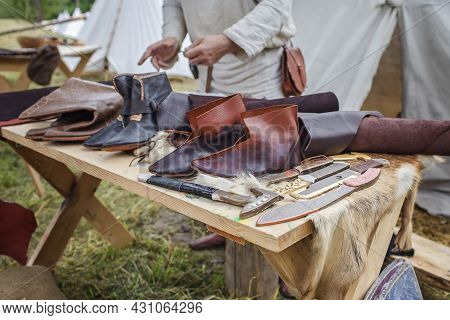 Craft Shoemaker Demonstrates The Process And The Products Of His Work On The Festival Workshop, Tool