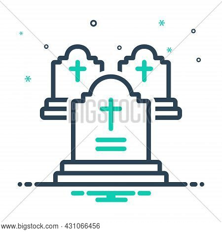 Mix Icon For Grave Death Funeral Gravestone Tombstone Cemetery Graveyard Halloween Headstone Horror
