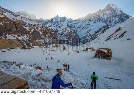 Annapurna Sanctuary - Nepal : April-12-2019 : Group Of Tourist Trekking From Mbc To Annapurna Base C