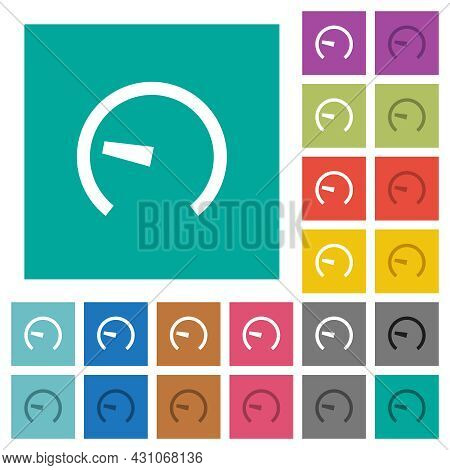 Speedometer Multi Colored Flat Icons On Plain Square Backgrounds. Included White And Darker Icon Var