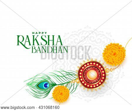 Happy Raksha Bandhan Background With Rakhi And Peacock Feathers