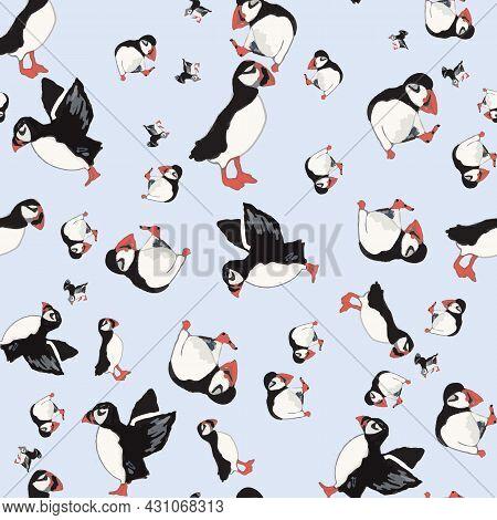 Vector Blue Background Ocean Seabird, Arctic Birds, Puffins. Seamless Pattern Background