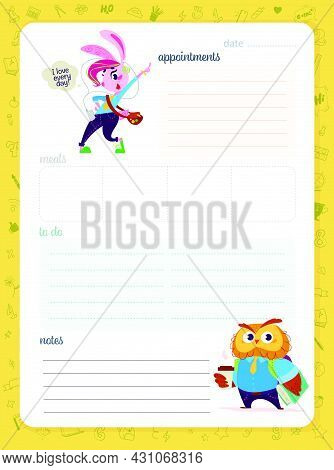 Daily Planner Page Design Template, Calendar For Children. Cute Little Animal Students, Bunny And Ow
