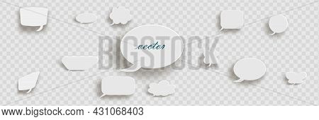 White 3d Blank Square And Rounded Button Vector Set. Button Banner Round, Badge Interface For Applic