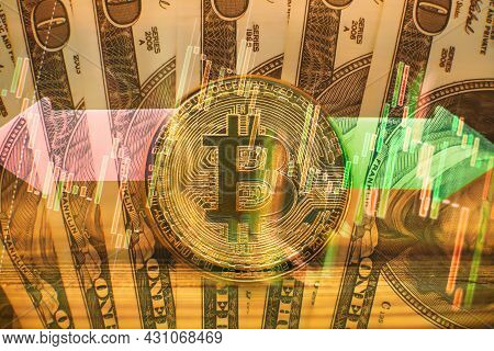 Bitcoin Gold Coin And Defocused Chart Background. Gold Bitcoins With Candle Stick Graph Chart And Di