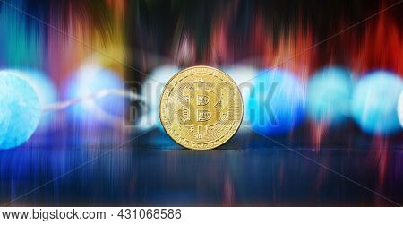 Bitcoin Stock Growth. Chart Shows A Strong Increase In The Price Of Bitcoin. Bitcoin Gold Coin And D