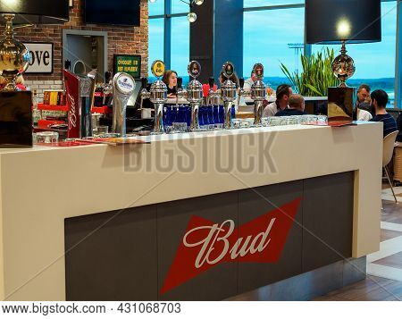 Moscow, Russia - May 26, 2021: Beer Columns With Different Types Of Beer In The Departure Terminal O