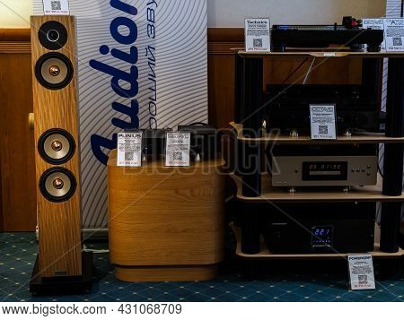 Moscow, Russia - May 23, 2021: Audio Equipment Of The Brands Octave, Technics, Charisma Audio, Roksa