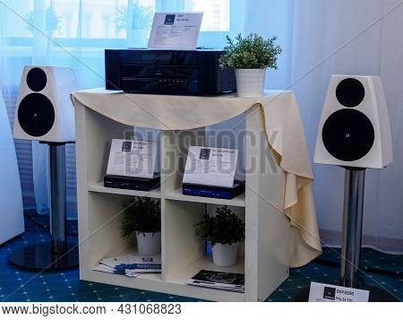 Moscow, Russia - May 23, 2021: Meridian Audio Equipment At The Hi-fi And High End Show