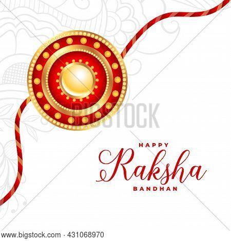 Traditional Raksha Bandhan White Greeting With Realistic Rakhi Design